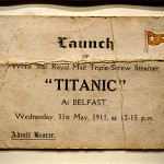 Europe, Northern Ireland, city of Belfast. Original shipyard worker's ticket for the launc of Titanic on 31st of may 1911. It was issued to David MONEYPENNY, who worked as painter on Titanic first class accomodation